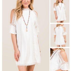 Francesca's | Cold Shoulder Crochet Shift Dress